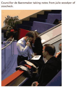 Councillor DeBaeremaeker colluding with Zoocheck's Julie Woodyer at November 27,2102 council meeting