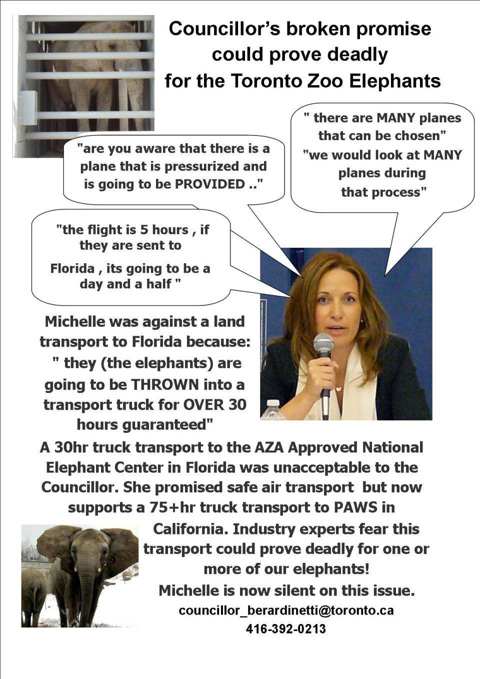 Councillor Michelle Berardinetti - Broken promises